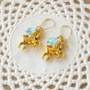 'Magic tears' unicorn earrings fairytale - 'Treasures' collection - aqua blue and gold tones, vintage style