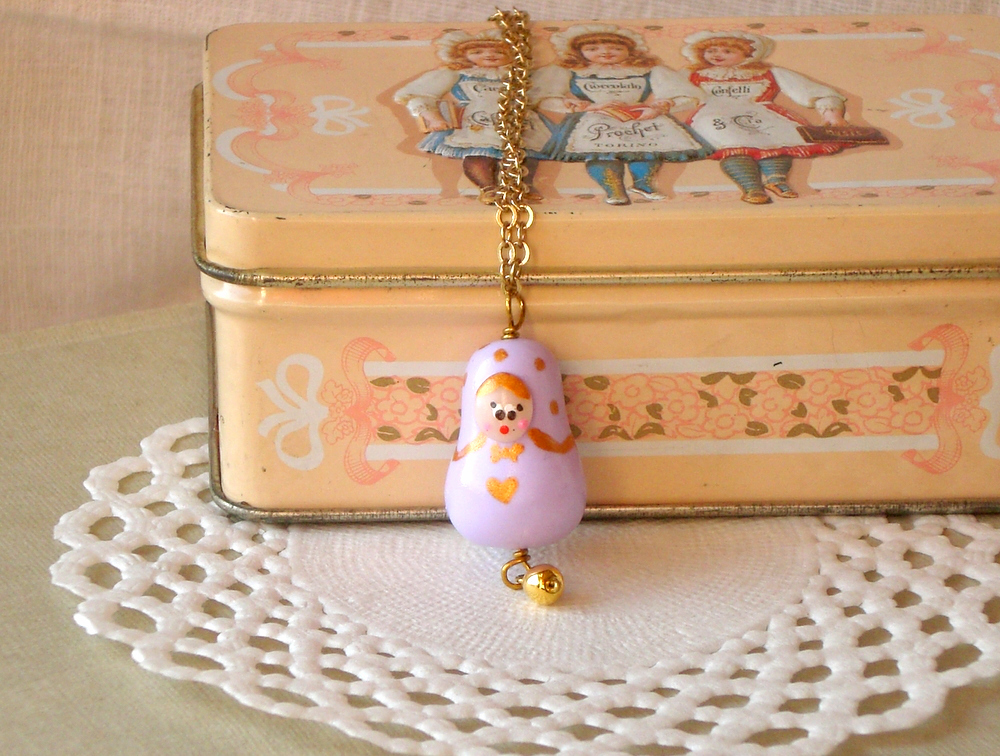  Matryoshka necklace for girls, in lilac and gold, polymer clay babushka, kids jewelry