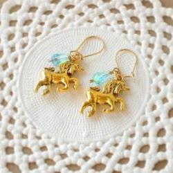 &#039;Magic tears&#039; unicorn earrings fairytale - &#039;Treasures&#039; collection - aqua blue and gold tones, vintage style