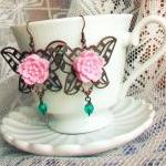 Rosa Silvana, butterfly earrings - 'Treasures' collection, vintage style, pink and teal
