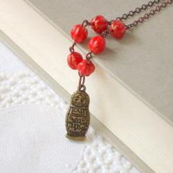 Red beauty necklace - &#039;Treasures&#039; collection, Matryoshka Charm necklace, vintage style jewelry