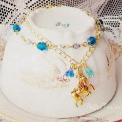 I was dreaming about Wonderland - 'Treasures' collection, Fairytale unicorn bracelet, vintage style jewelry, in blue